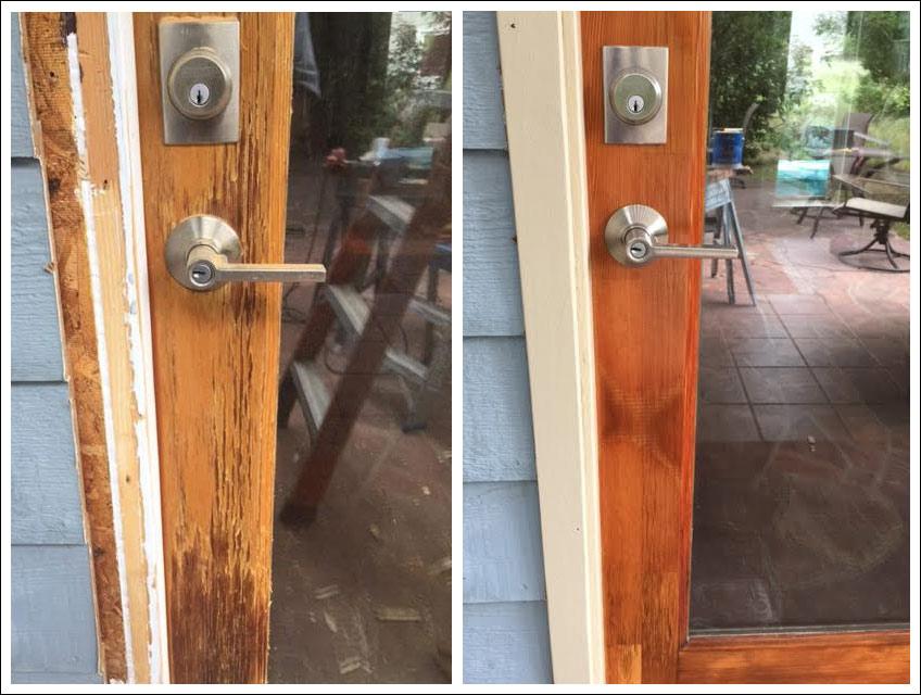 Outdoor Porch Door Wood Trim Repair - Bob Barron-The Door Wizard